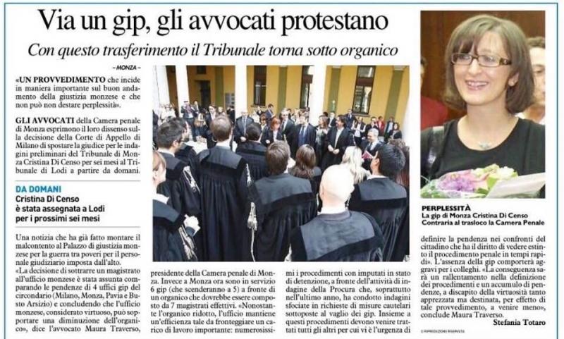 Rassegna stampa camera penale di monza monza brianza for Rassegna camera